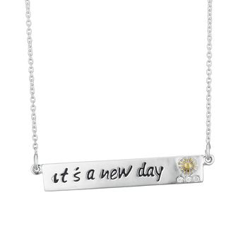 "Silver & 9ct Gold Plated ""New Day"" Bar Necklet - Product number 4025628"