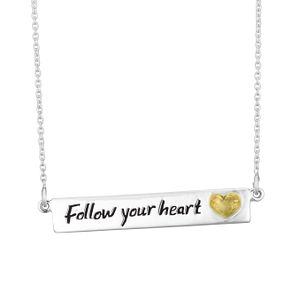 "Silver & 9ct Gold ""Follow Your Heart"" Bar Necklet - Product number 4025636"