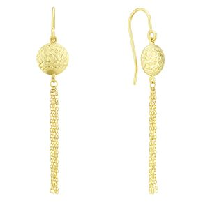 9ct Yellow Gold Diamond Cut Disc Tassel Drop Earrings - Product number 4025717