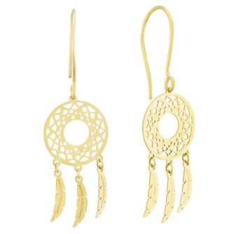 9ct Yellow Gold Geometric Dreamcatcher Drop Earrings - Product number 4025725