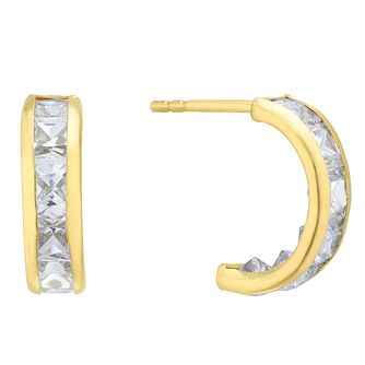 9ct Yellow Gold Cubic Zirconia Half Hoop Earrings - Product number 4025784