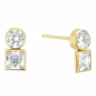9ct Yellow Gold Round & Square Cubic Zirconia Stud Earrings - Product number 4025962