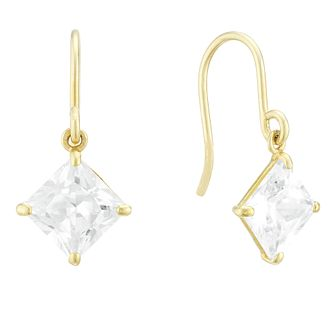 9ct Yellow Gold Square Cubic Zirconia Drop Earrings - Product number 4025970