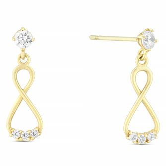 9ct Yellow Gold Cubic Zirconia Figure of 8 Drop Earrings - Product number 4025997