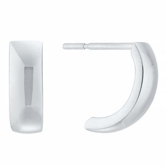 9ct White Gold Half Hoop Earrings - Product number 4026004