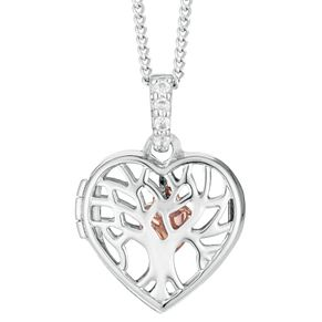 Silver & 9ct Rose Gold Heart Tree of Life Design Locket - Product number 4026020