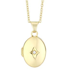 Silver & Yellow Gold Plated Diamond Set Oval Locket - Product number 4026039