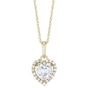 9ct Yellow Gold Cubic Zirconia Halo Heart Shape Pendant - Product number 4026071