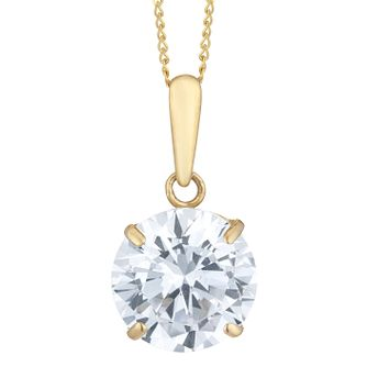 9ct Yellow Gold Cubic Zirconia Solitaire Pendant - Product number 4026098