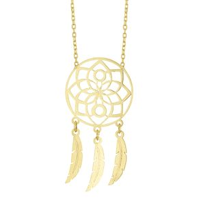 9ct Yellow Gold Floral Dreamcatcher Necklet - Product number 4026187