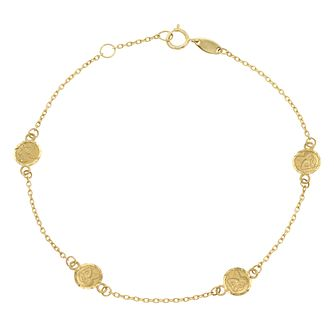 9ct Yellow Gold Angel Design Disc Station Bracelet - Product number 4026209