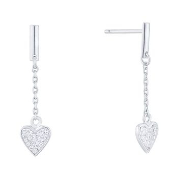 Evoke Silver Crystal Heart Drop Earrings - Product number 4026330