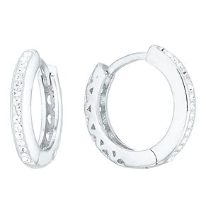 Evoke Silver Cut Out Heart Design Huggie Hoop Earrings - Product number 4026667