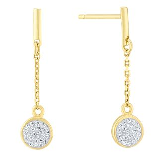 Evoke Silver & Gold Plated Crystal Disc Drop Earrings - Product number 4026675