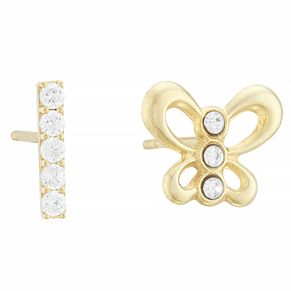 9ct Yellow Gold Cubic Zirconia Butterfly & Bar Stud Earrings - Product number 4028465