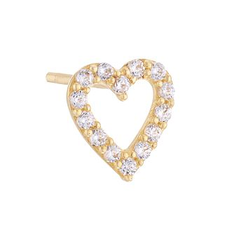 9ct Yellow Gold Cubic Zirconia Heart Single Stud Earring - Product number 4028473