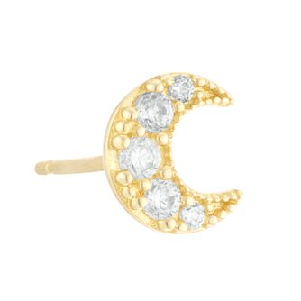 9ct Yellow Gold Cubic Zirconia Crescent Single Stud Earring - Product number 4028546