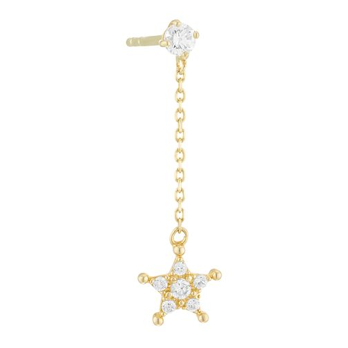 9ct Yellow Gold Cubic Zirconia Star Single Drop Earring - Product number 4028554