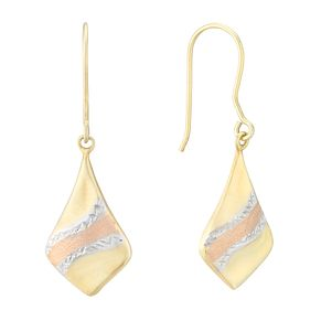 Silver & 9ct Yellow Gold Bonded Three Tone Drop Earrings - Product number 4028759