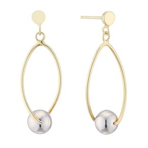 Silver & 9ct Yellow Gold Bonded Two Colour Drop Earrings - Product number 4028767