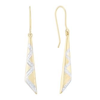 Silver & 9ct Yellow Gold Bonded Two Tone Drop Earrings - Product number 4028775