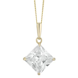 9ct Yellow Gold Square Cubic Zirconia Pendant - Product number 4028791