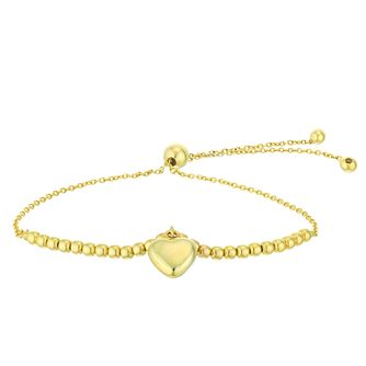 Silver & 9ct Gold Bonded Heart Charm Adjustable Bracelet - Product number 4028805