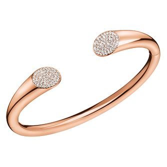 Calvin Klein Rose Gold Tone White Crystal Open Bangle - Product number 4029658