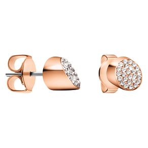 Calvin Klein Rose Gold Tone White Crystal Stud Earrings - Product number 4029739