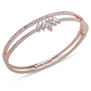 Anne Klein Rose Gold Tone Crystal Pave Bangle - Product number 4030109