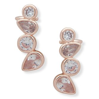 Anne Klein Rose Gold Plated Crystal Climber Earrings - Product number 4031210