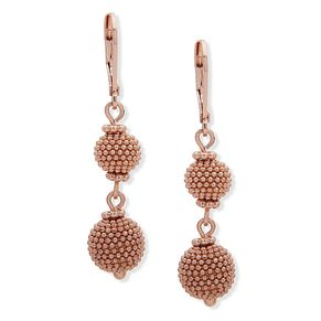 Anne Klein Rose Gold Tone Double Ball Drop Earrings - Product number 4031245