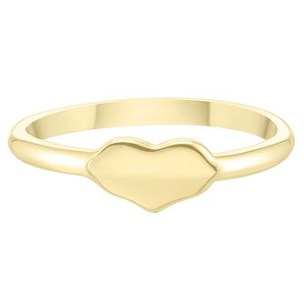 9ct Yellow Gold Plain Heart Shape Signet Ring - Product number 4031415