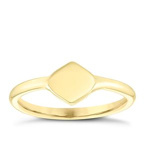 9ct Yellow Gold Plain Diamond Shape Signet Ring - Product number 4031733