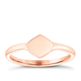 9ct Rose Gold Plain Diamond Shape Signet Ring - Product number 4033876