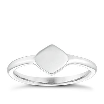 9ct White Gold Plain Diamond Shape Signet Ring - Product number 4034120