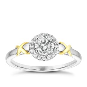 Silver & 9ct Yellow Gold Cubic Zirconia Kiss Ring - Product number 4035186