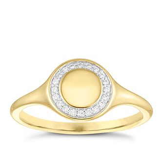 9ct Yellow Gold Cubic Zirconia Circle Halo Signet Ring - Product number 4035445