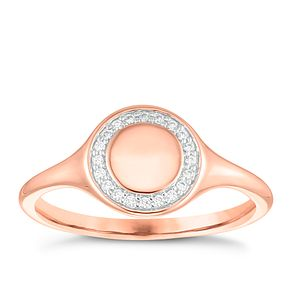 9ct Rose Gold Cubic Zirconia Circle Halo Signet Ring - Product number 4035585