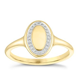 9ct Yellow Gold Cubic Zirconia Oval Halo Signet Ring - Product number 4036360