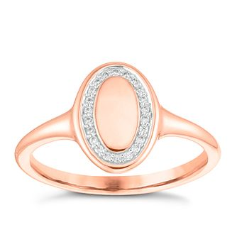 9ct Rose Gold Cubic Zirconia Oval Halo Signet Ring - Product number 4036492