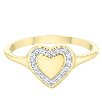 9ct Yellow Gold Cubic Zirconia Heart Halo Signet Ring - Product number 4036638