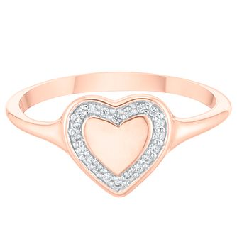 9ct Rose Gold Cubic Zirconia Heart Halo Signet Ring - Product number 4036751