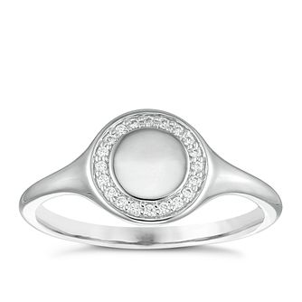 9ct White Gold Cubic Zirconia Circle Halo Signet Ring - Product number 4036883