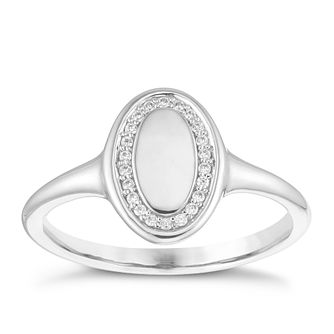 9ct White Gold Cubic Zirconia Oval Halo Signet Ring - Product number 4037014