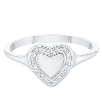 9ct White Gold Cubic Zirconia Heart Halo Signet Ring - Product number 4037154