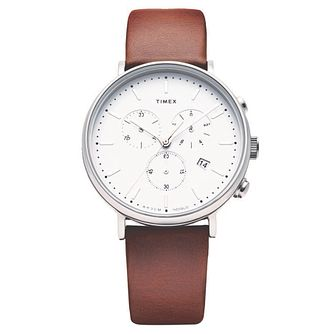Timex Fairfield Contactless Brown Leather Strap Watch - Product number 4038991