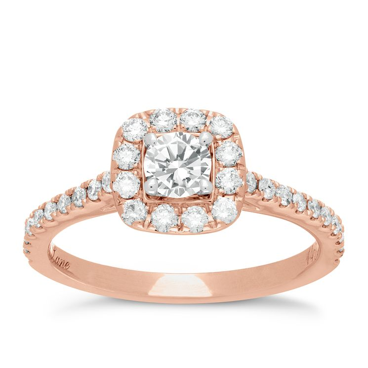Neil Lane 14ct rose gold 0.75ct diamond halo ring - Product number 4046439