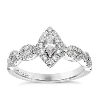 Neil Lane platinum 0.87ct diamond marquise ring - Product number 4050533