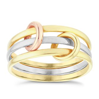 9ct Three Colour Gold Layered Ring - Product number 4053648